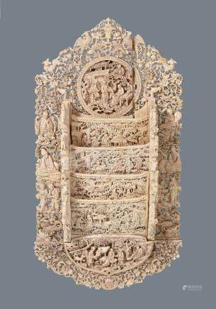 Y An elaborate Cantonese ivory reticulated letter rack