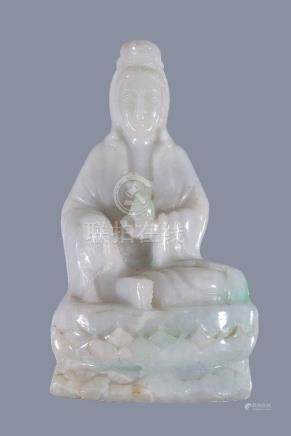 A Chinese Jadieite figure of Quanyin