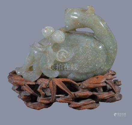 A Chinese jadeite figure of a Phoenix