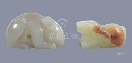 A Chinese celadon and russet jade horse