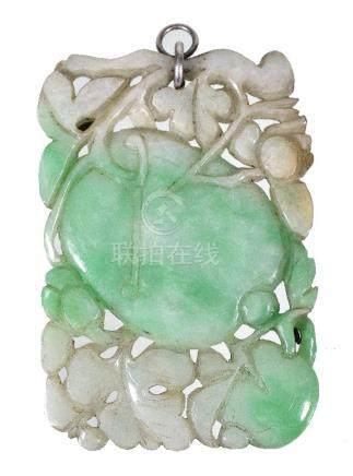 A Chinese 'melon' jadeite pendant