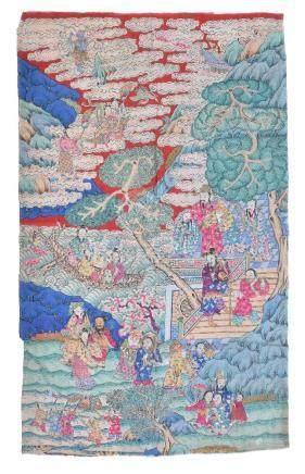 A Chinese silk Kesi panel