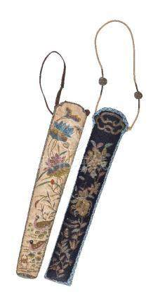 Two Chinese silk fan cases