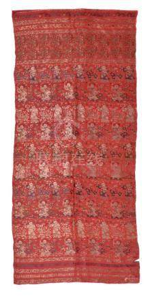 A Chinese rose-red panel woven with the 'hundred boys' design