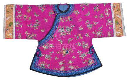 A Chinese embroidered magenta satin woman's side opening informal jacket