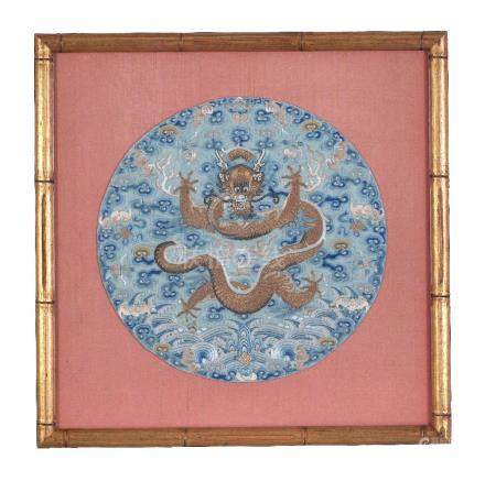 Two Chinese silk Imperial Dragon roundels