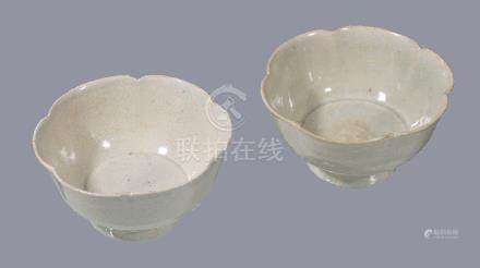 A pair of Qingbai petal-lobed high-footed bowls