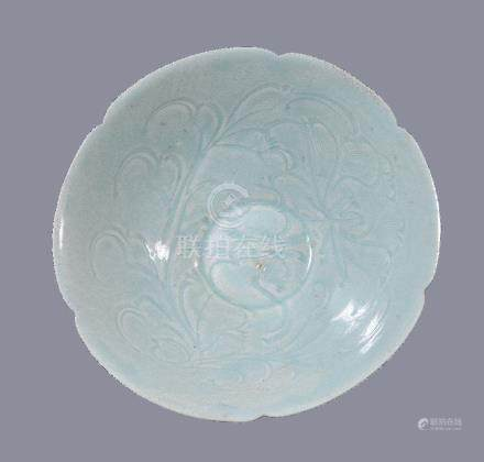 A Chinese Qingbai porcelain six-lobed bowl