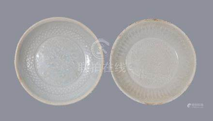 Two Chinese Qingbai moulded bowls