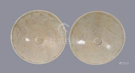 Two Qingbai carved bowls