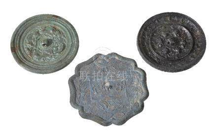 Two Chinese bronze mirrors, Tang Dynasty