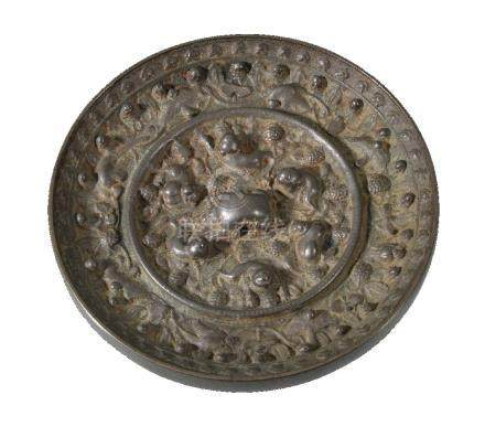 A Chinese bronze mirror, Tang Dynasty