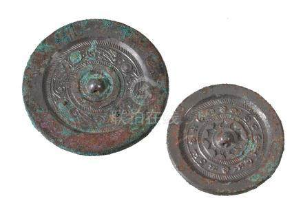 Two Chinese bronze mirrors, Han Dynasty