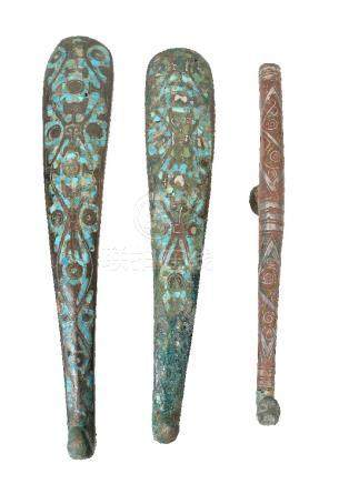 Two Chinese archaic inlaid bronze belt hooks