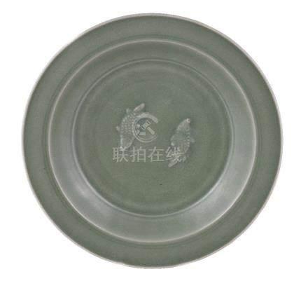 A Chinese Longquan celadon 'Twin Fish' dish