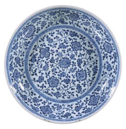 A Chinese blue and white 'Floral Scroll' Dish