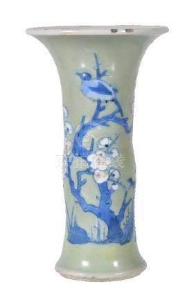 A Chinese small blue and white celadon-ground 'phoenix-tail' vase