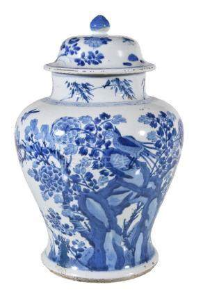 A Chinese blue and white vase and a cover