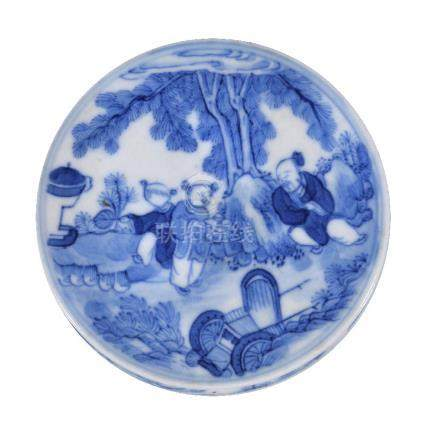 A Chinese blue and white seal paste box and cover, Qing Dynasty, probably depicting ...