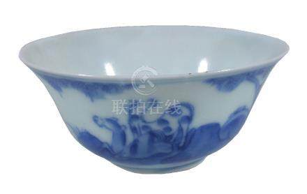 A small Chinese blue and white bowl, Qing Dynasty, painted with horses, with four ...