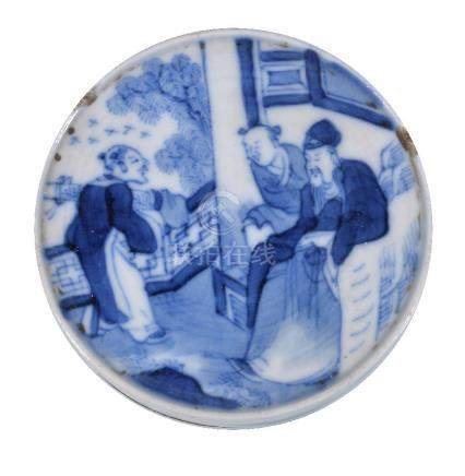 A Chinese blue and white seal paste box and cover, Qing Dynasty, depicting the celebration ...