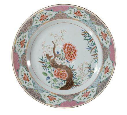 A large pair of Chinese Famille Rose plates