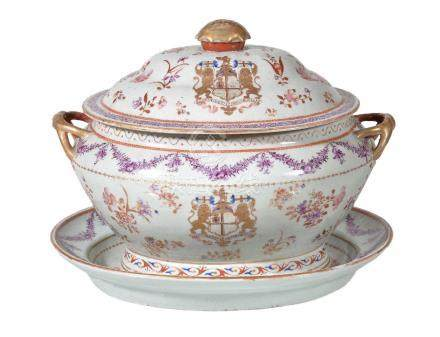 A Famille Rose 'East India Company' Armorial Tureen