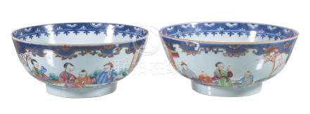 A pair of Chinese Famille Rose bowls