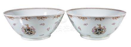 A large pair of Chinese export armorial punch bowls