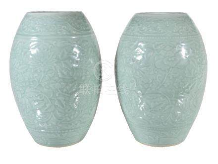 A large pair of Chinese celadon vases