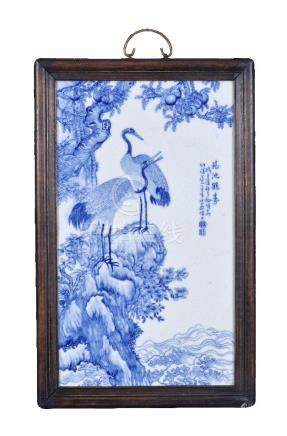 A large Chinese blue and white porcelain plaque