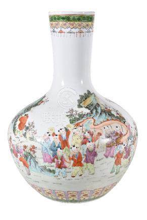 A large Chinese famille rose 'hundred boys' vase
