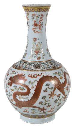 A famille rose 'dragon and phoenix' bottle vase