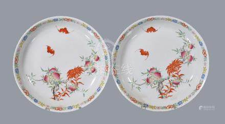Two Chinese Famille Rose 'Peach and Bat' dishes