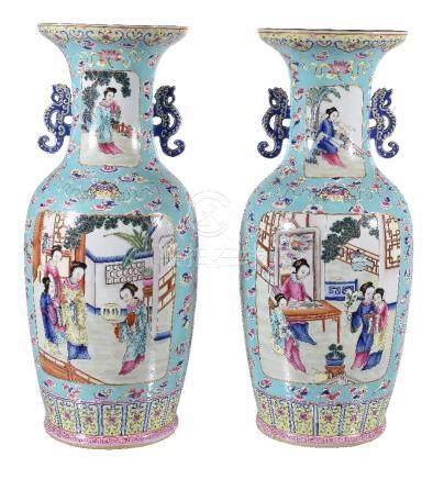 A large pair of Cantonese turquoise-ground vases
