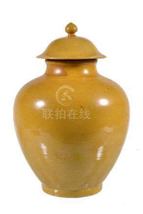 A Chinese yellow-ground vase and cover