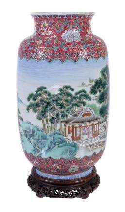 A good Chinese Famille Rose vase, Republican Period, the shoulder and foot decorated ...