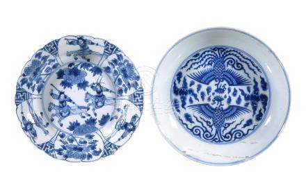 A Chinese blue and white 'Pheonix' dish
