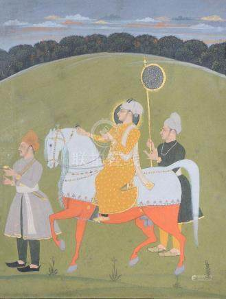 An Indian portrait of a ruler on horseback