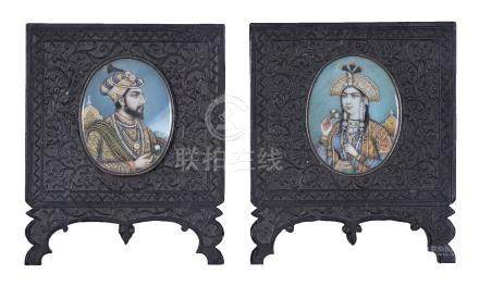 Two Indian portrait miniatures of Shah Jahan and Mumtaz Mahal
