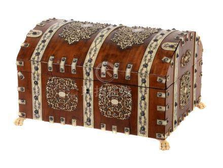 Y An Anglo Indian sandalwood and ivory mounted dome topped coffer, mid 19th century