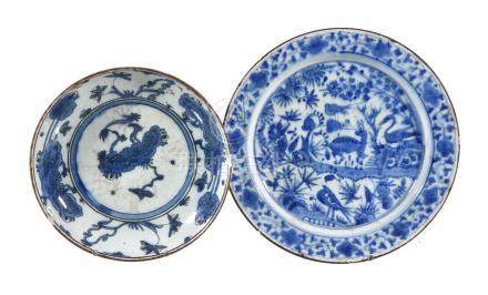 Two Safavid blue and white dishes