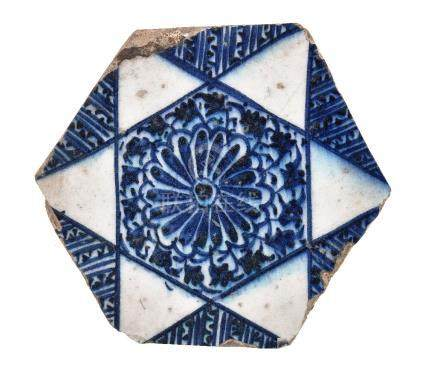 A Mamluk hexagonal blue and white tile