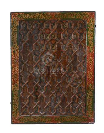 A large Qajar lacquered wooden Screen