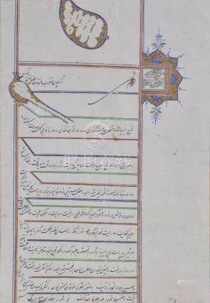 An illuminated firman issued by Prince Muzaffar al-Din