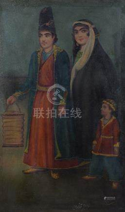 A Qajar style portrait of a young couple