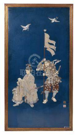 Y A Japanese blue lacquer panel