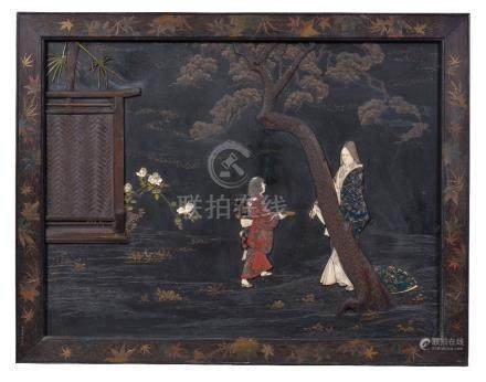 Y A large Japanese lacquer panel