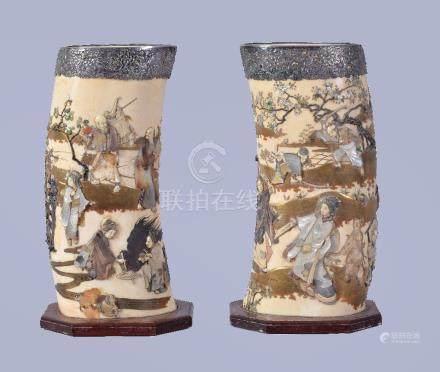 Y A pair of Shibayama vases