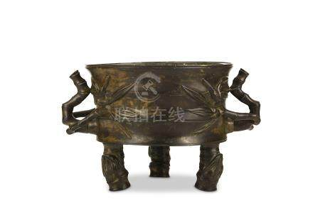 A LARGE CHINESE BRONZE PARCEL GILT 'BAMBOO' INCENSE BURNER. Early Qing Dynasty, signed Li Yuanhe.